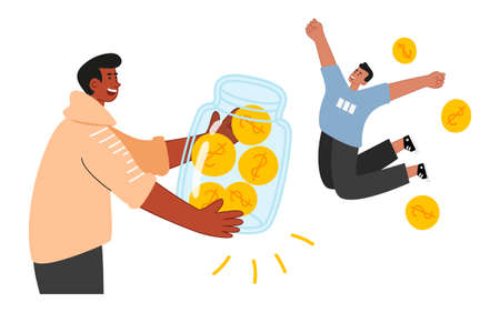 The guy holds in his hands a huge jar of money, and the friend jumps for joy, tucking his legs under him. Stock market investments. Startup success. Vector business illustration