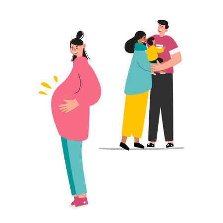 A pregnant teenager girl and a boyfriend are upset and do not know what to do. Abortion of minors. Teenage abortions and early pregnancy. Vector illustration of social problems of youth Illusztráció