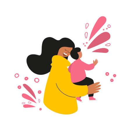 Happy mother with a baby in her arms. Concept for a mother's day greeting card. Vector illustration with women and children. Design element for postcards, posters, banners, and other uses.