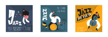 Music set of a jazz orchestra. Musicians play jazz instruments. Stylish jazz lettering. Vector music logos for printing products Illusztráció