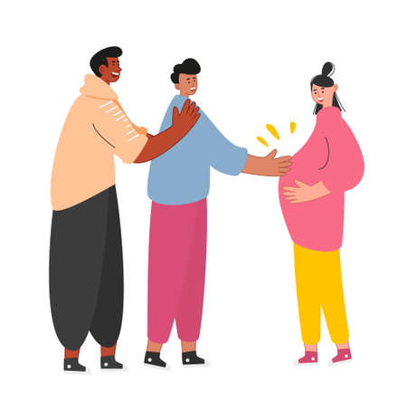 A gay couple holds the belly of a pregnant surrogate mother. Same-sex relationships and the rights of homosexual partners. Non-traditional family, marriage. Vector illustration