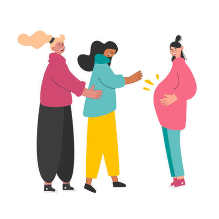 A gay LGBT couple hold the belly of a pregnant surrogate mother. Same-sex relationships. Non-traditional family, marriage. Vector illustration