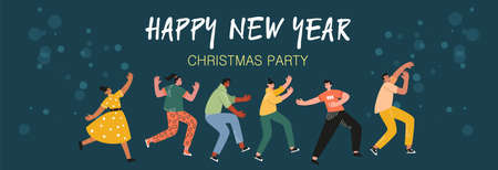 Young people dancing in the New year's party. The concept of a holiday, carnival, festival. People from all over the world celebrate Christmas and New year. Vector illustration