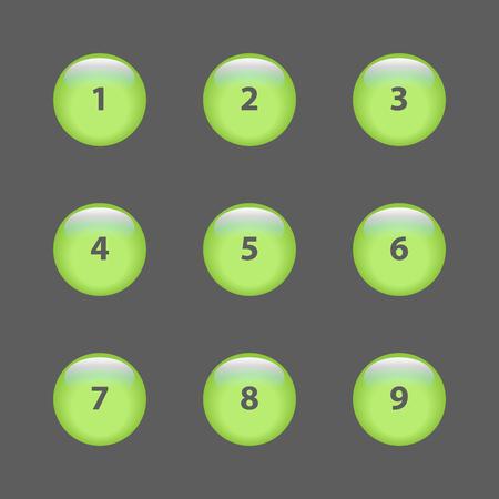 numero nueve: 1-9 botones 3d vector Vectores