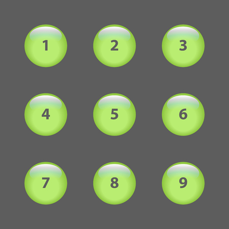 number 7: 1-9 vector 3d buttons