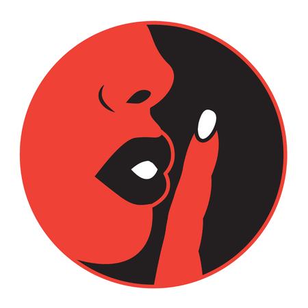 Ilustración plana de la boca de la mujer y el dedo a la boca