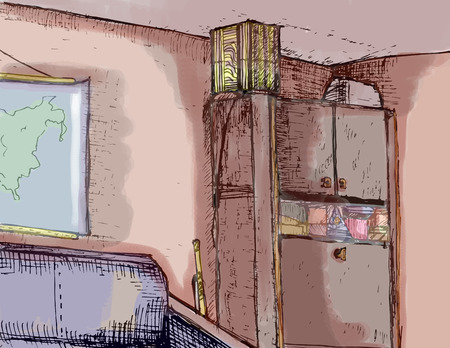 Hand drawn interior of cabinet Illustration