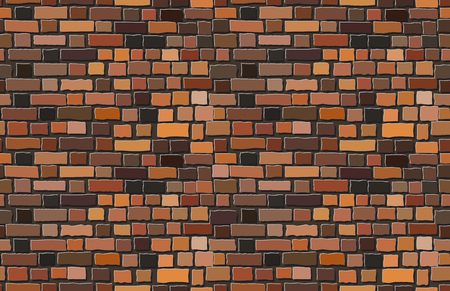 Vector terracotta old brick wall background. Seamless pattern