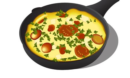 Vector illustration of italian frittata in an iron pan. EPS 10 Illustration