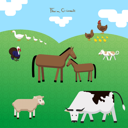 Vector seat of farm animals on a pasture. EPS 10