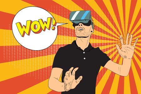 Man with virtual reality glasses Ilustração