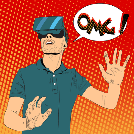 Man with virtual reality glasses  イラスト・ベクター素材