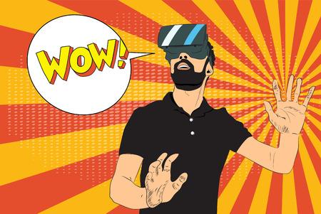 Pop art illustration. Man with virtual reality glasses. EPS 10