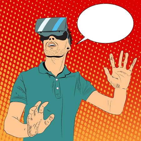 Man with virtual reality glasses Illusztráció