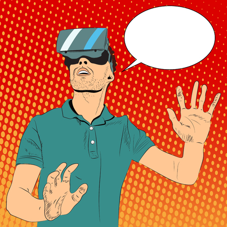 Man with virtual reality glasses Illustration