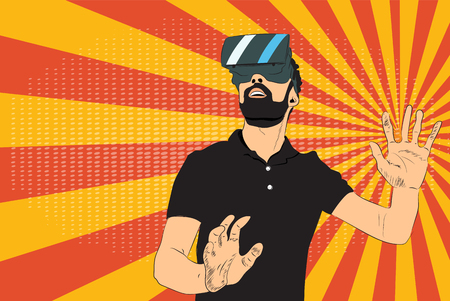 Man with virtual reality glasses Ilustrace