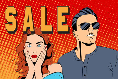 Group of people with word sale