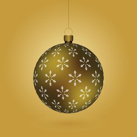 Boule de Noël dorée avec impression de flocons de neige accrochée à une chaîne dorée. EPS 10