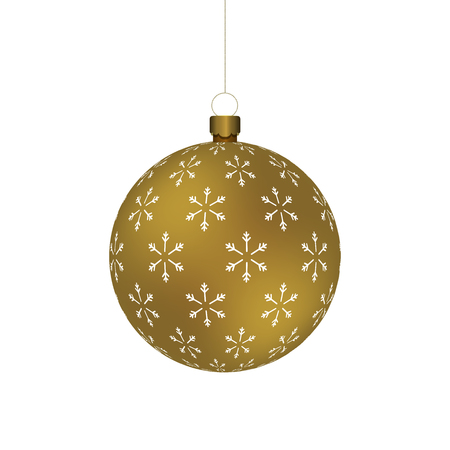 Golden Christmass ball with snowflakes print hanging on a golden chain