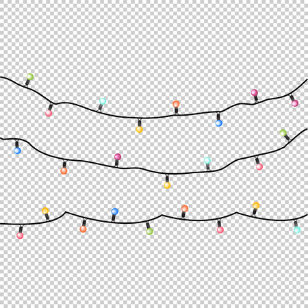 Vector holiday garlands with colorful lamps on a trancparent background. EPS 10 Illustration