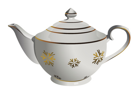 Vector realistic ceramic tea pot with snowflake ornament. EPS 10