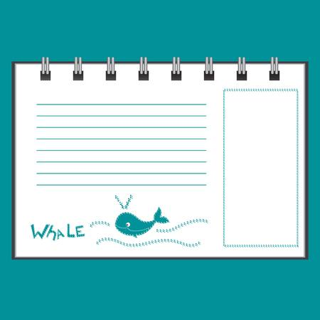 Vector template of notebook or sketchbook on a blue background. EPS 10