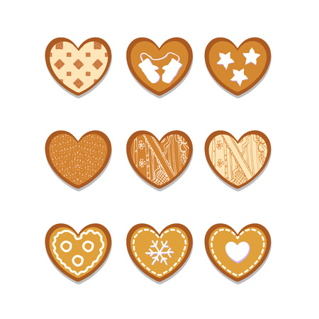 set of ginger cookies in the shape of heart. EPS 10 Illustration