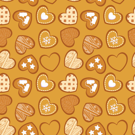 Vector seamless texture with heart-shaped ginger cookies. EPS 10