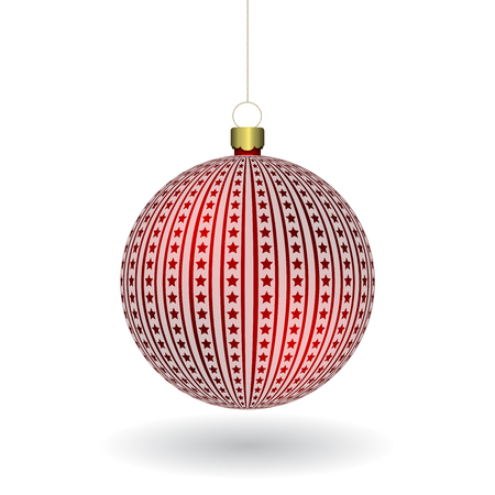 Red Christmass ball hanging on a golden chain. EPS 10