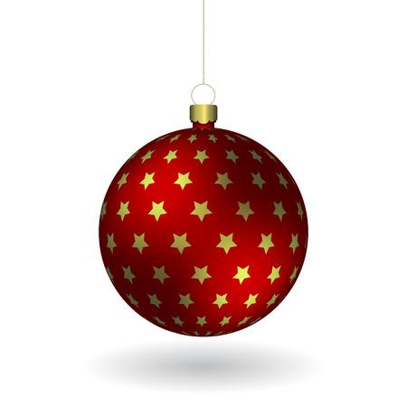 Boule de Noël rouge accrochée à une chaîne dorée. EPS 10 Banque d'images