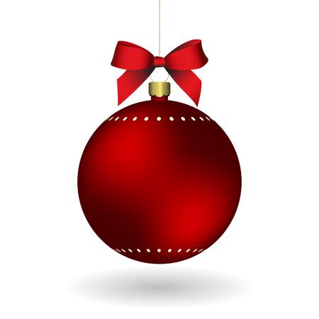 Boule de Noël rouge avec ruban suspendu à une chaîne dorée. EPS 10
