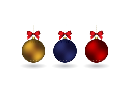 Set of 3 Christmass balls with ribbon hanging on a golden chain. EPS 10