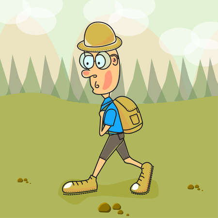 Vector illustration. A tourist at mountains and valley. EPS 10