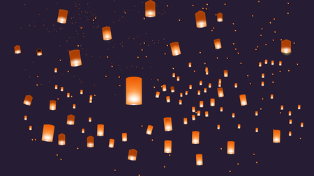 Vector illustration of chinese lanterns in the sky. EPS 10