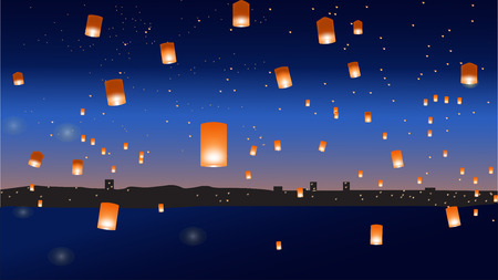 Vector illustration with chinese lanterns over the city. EPS 10