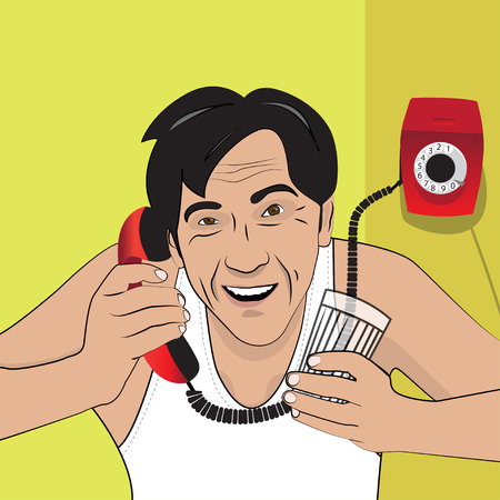 Vector illustration with a man talking on the phone. Retro style. EPS 10