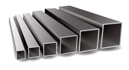 Ilustración de vector de tubos cuadrados de hierro