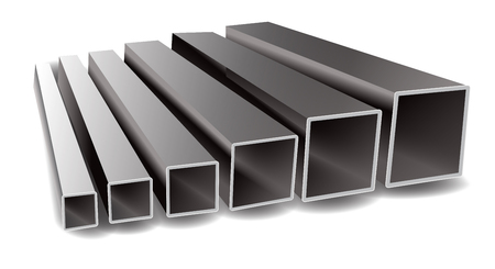 Vector illustration of iron square tubes