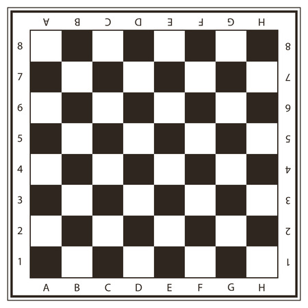 Champ d'échecs de vecteur en couleurs noir et blanc avec des nombres