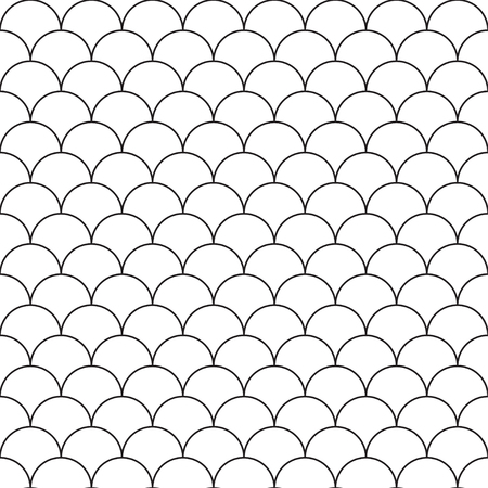 white seamless pattern with shell ornament. Black and white texture Illustration