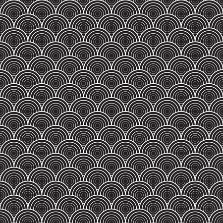 Black and white illustration with graphic shell ornament. Seamless texture Illustration