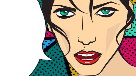 pop art illustration of a dark hair girl and speaking bubble