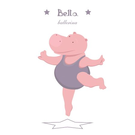 Graceful little hippo ballerina dancing on a white background Illustration