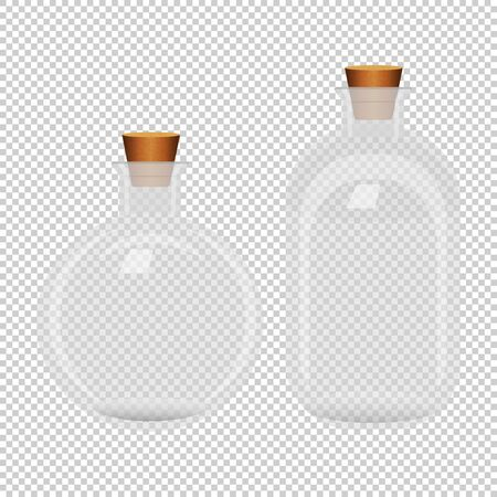 Set of two white transparent closed bottles on seamless background