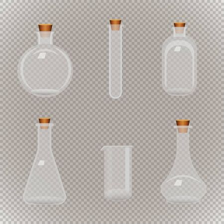 Set of different transparent flasks with tube on aa seamless background