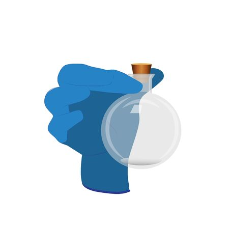 Vector illustration with a gloved hand and a flask 일러스트