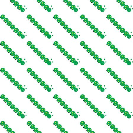 Vector seamless pattern with caterpillars. Diagonal direction Ilustrace
