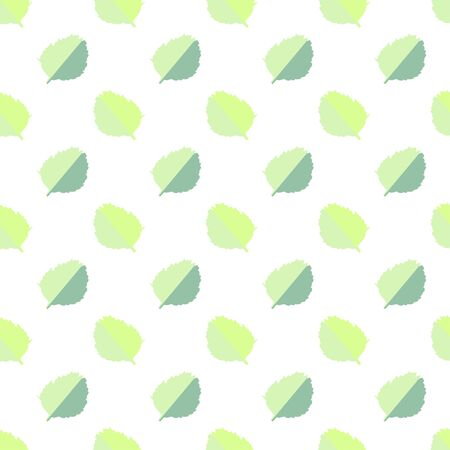 Vector seamless pattern with green and yellow autumn leaves