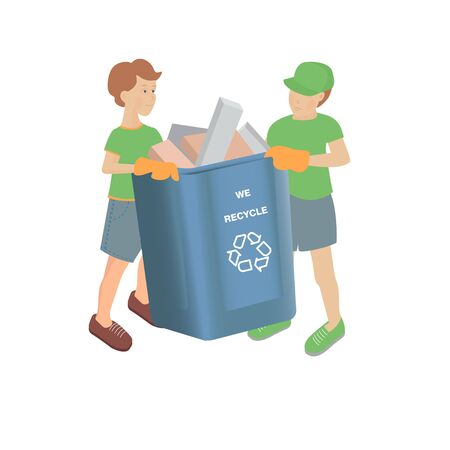 Vector illustration with two boys with full recycling bin on a white background
