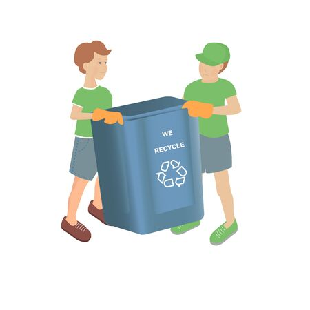 Vector illustration with two boys with empty recycling bin on a white background